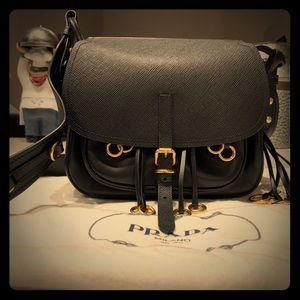 6285292e39 Prada Black Leather Corsaire Messenger Bag